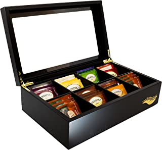 The Bamboo Leaf Wooden Tea Box Storage Chest, 8 Compartments w/Glass Window (Black)