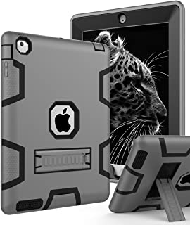 TOPSKY iPad 2 Case,iPad 3 Case,iPad 4 Case,iPad 2/3/4 Kids Proof Case,Heavy Duty Shockproof Rugged Kickstand Protective Cover Case for iPad 2nd/3rd/4th Generation Retina(A1416/A1458) Grey Black