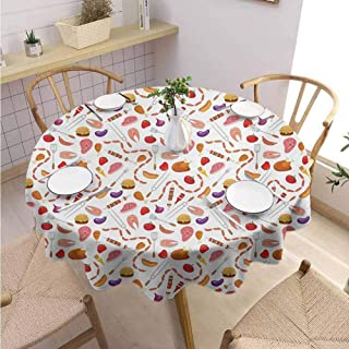 DILITECK BBQ Party Decorative Round Tablecloth Grilling Themed Food Elements Hamburger Hotdog Steak and Sausage Pattern Cooking Excellent Durability Diameter 36