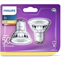 (Pack of 2) - Philips LED Classic 4.6 W GU10 Glass LED Spot Light (Replacement for 50 W Halogen Spot) - Warm White, Pack of 2