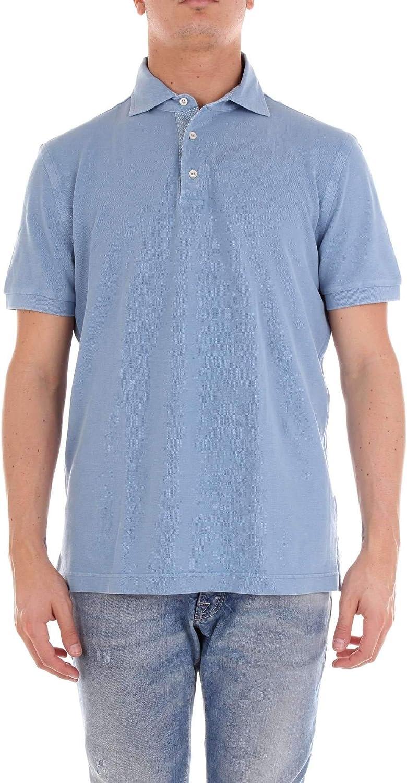 DELLA CIANA Men's 8143350L37545 Light blueee Cotton Polo Shirt