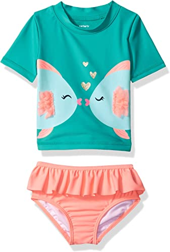 voitureter's   Girls' Two Piece maillot de bain, Turquoise Fish, 3 Months