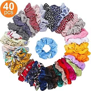 Isbasa 40pcs Hair Scrunchies - Velvet & Chiffon Elastic Hair Ties, Flowers Hair Scrunchy Ropes Hair Bands Ponytail Holder for Women or Girls (40 Colors)
