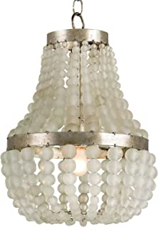 Kathy Kuo Home Edisto Hollywood Regency Style White Beaded 1 Light Chandelier