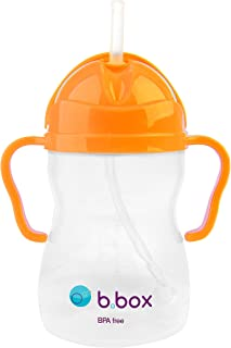 b.box Sippy Cup with Innovative Weighted Straw | Easy-Grip Handles | Color: Neon Orange Zing | 8 oz. | BPA-Free | Phthalates & PVC Free | Dishwasher Safe