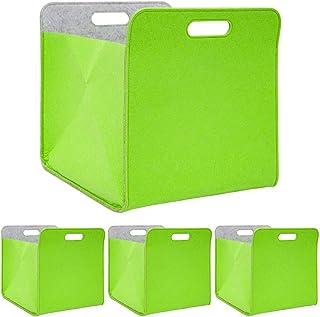 DuneDesign Juego de 4 cajas plegables de fieltro 33 x 33 x 38 cm para estantería Kallax cesta para estanterías