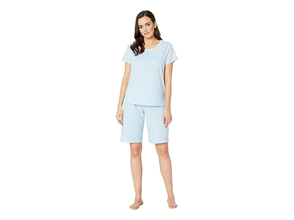 Karen Neuburger Dreamer Short Sleeve Bermuda Set (Gingham/Blue) Women