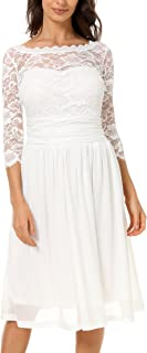 DILANNI Women's Vintage Formal Floral Lace 3/4 Sleeve Cocktail Party Tube Dress