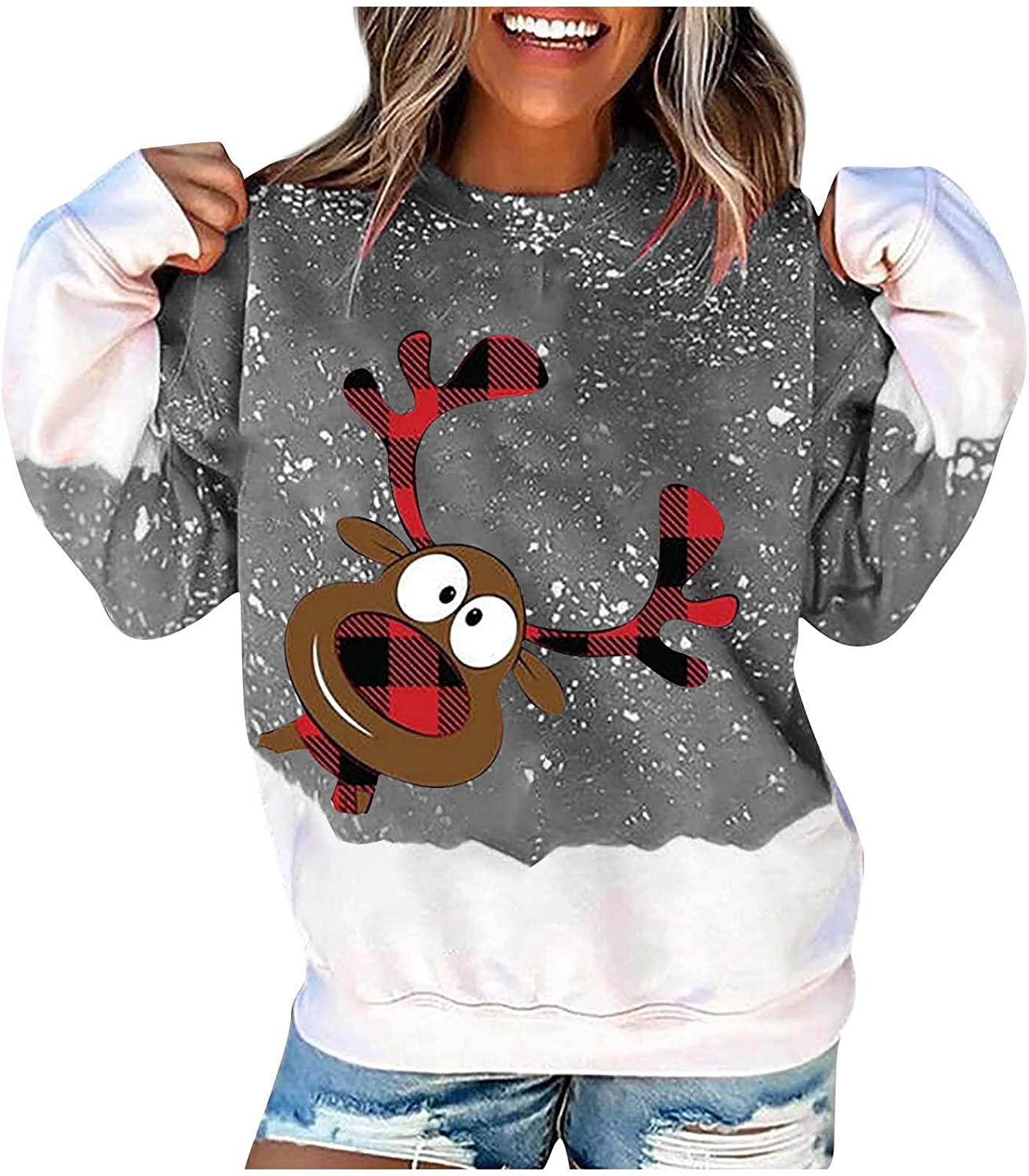 Sweatshirt for Womens Cute Elk Print Loose Top Christmas Casual Plus Size Sweater O Neck Long Sleeve Pullover