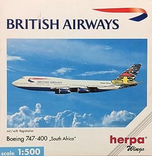 """ヘルパ 1/500 ブリティッシュ・エアウェイズ B747-400""""南アフリカ"""" G-BNLO"""
