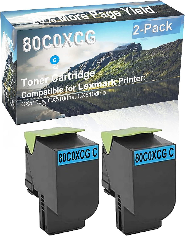 2-Pack (Cyan) Compatible High Yield 80C0XCG Laser Printer Toner Cartridge Used for Lexmark CX510de, CX510dhe, CX510dthe Printer