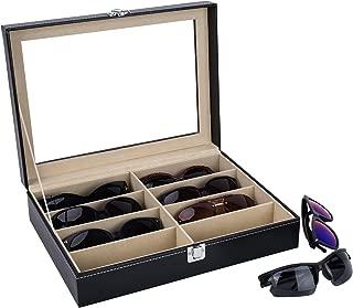 AUTOARK Leather 8 Piece Eyeglasses Storage and Sunglass Glasses Display Case Organizer,Black,AW-022