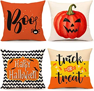 4TH Emotion Fall Halloween Boo Throw Pillow Cover Farmhouse Pumpkin Trick or Treat Home Cushion Case for Sofa Couch 18 x 18 Inches Cotton Linen Set of 4
