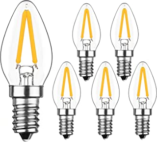 YIUN 2W LED Filament C7 Night Light Bulb, 2700K Warm White 200LM, E12 Candelabra Base Lamp C7 Mini Torpedo Shape, 15W Incandescent Bulbs Equivalent, Dimmable, 6 Pack