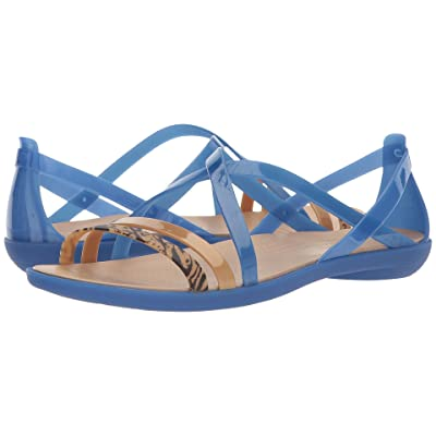 Crocs Isabella Graphic Strappy Sandal (Blue Jean/Gold) Women