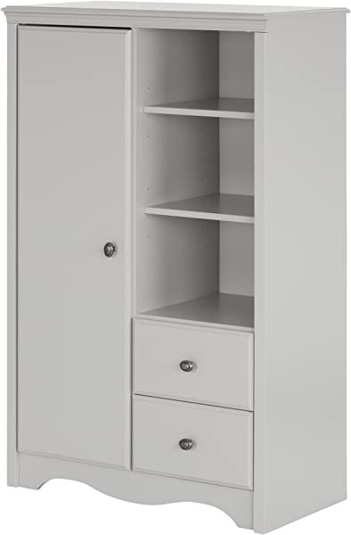 South Shore Angel Armoire With Drawers Soft Gray