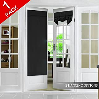 Blackout Door Curtain Panel French Door Curtain, Solid Black Door Curtains for Tricia Door, Rod Pocket Energy Efficient Patio Door Curtain Drapes, 1 Panel, 26 x 68 Inches