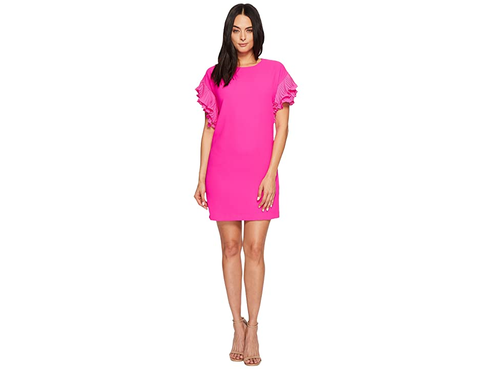 CeCe Tiered Pleated Sleeve Moss Crepe Dress (Garden Rose) Women
