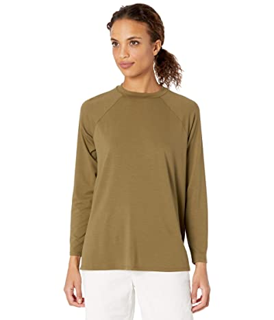 Eileen Fisher Crew Neck Raglan Sleeve Shirt (Olive) Women