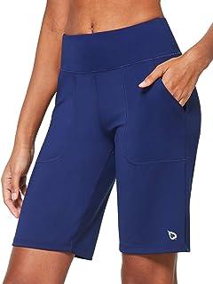 BALEAF Women's Mid High Waist Running Lounge Bermuda Shorts with Pockets Gym Workout