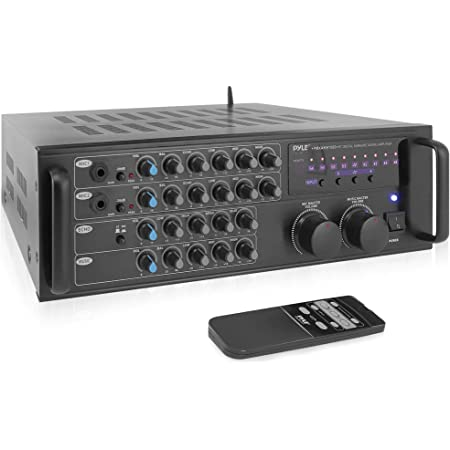 Pro 1000-Watt Portable Wireless Bluetooth - Stereo Mixer Karaoke Amplifier System with Dual Mic / RCA Audio / Video Inputs, Speaker Output for Instant Home Karaoke, DJ Party - Pyle PMXAKB1000