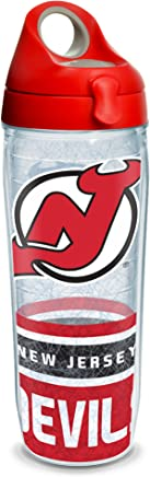 Clear Tervis 1266015 NHL New Jersey Devils All Over Tumbler with Wrap and Red with Gray Lid 24oz Water Bottle