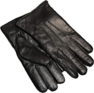 Winter Men's Touchscreen Warm Lambskin Leather Gloves Cashmere Lined
