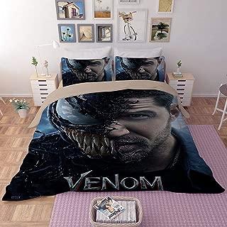 Paixide Venom Bedding Duvet Cover Sets-3D Venom Superhero 3 Pieces Bedding Sets Including 1 Duvet Cover 2 Pillow Shams,Twin Size