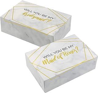 مجموعة صندوق اقتراح لإشبينة العروس I 6 حزم I 1 Maid of Honor Proposal Box و5 Will You be My Bridesmaid boxes I Marble with...