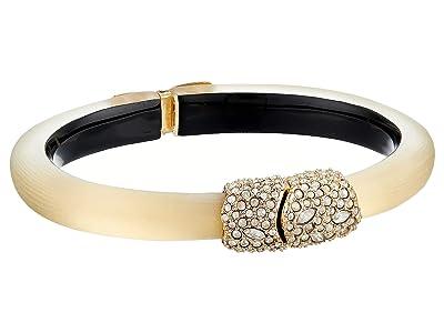 Alexis Bittar Crystal Encrusted Clasp Skinny Hinge Bracelet (Gold) Bracelet