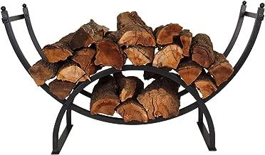 PATIO WATCHER 3-Foot Curved Firewood Rack Log Rack Firewood Storage Log Holder for Indoor Outdoor Backyard Fireplace, Heavy Duty Steel Black