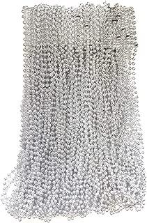 Silver Mardi Gras Beads 33 inch 7mm, 6 Dozen, 72 Necklaces