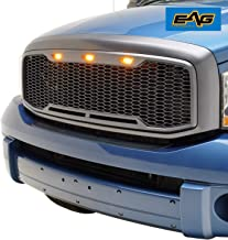 EAG Replacement Upper ABS Grille LED Grill with Amber LED Lights - Charcoal Gray Fit for 06-08 Dodge Ram 1500/06-09 Dodge Ram 2500/3500