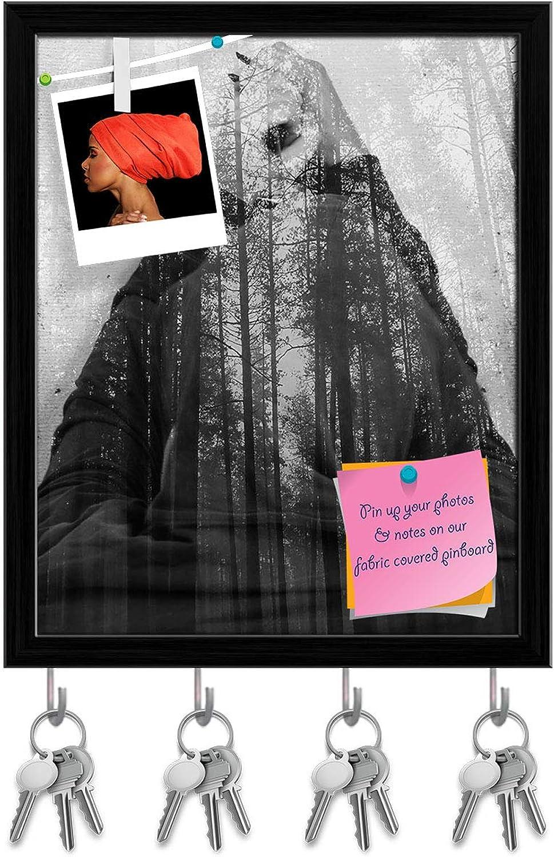 Artzfolio Man in Black Forest Key Holder Hooks   Notice Pin Board   Black Frame 16 X 19.7Inch