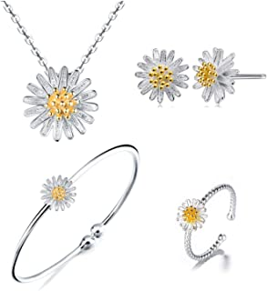 Sterling Silver Daisy, Cherry Flower Necklace Earrings Bracelets Ring Set for Women and Girls