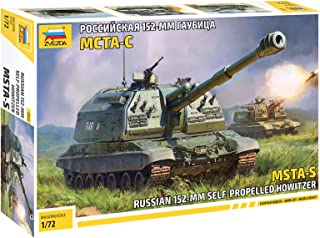 ZVEZDA 5045 - Russian 152-mm Self-Propelled Howitzer MSTA-S - Plastic Model Kit Scale 1/72 194 Parts Lenght 7.25