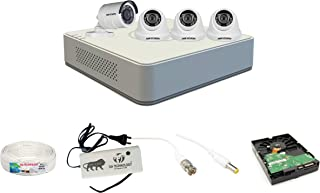 Sia Technology Hikvision 4 Channel HD DVR and 1 Bullet, 3 Dome HD Camera Combo kit, Include All Require Accessories for 4 ...