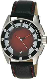 Fastrack Men's Red Dial Leather Band Watch - 3089SL10