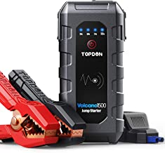 Jump Starter Car Battery Pack Portable, TOPDON VOLCANO1500 12V Auto Lithium Battery Booster Charger Jumper (Up to 8L Gas, 6.5L Diesel) 18000mAh Power Bank for Car Truck ATV SUV Boat-Peak 1500A