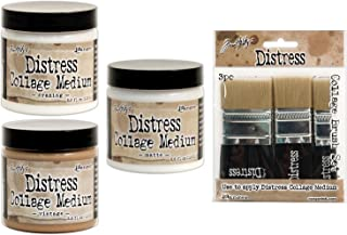 (Ship From USA) Ranger - Tim Holtz Collage Mediums - Crazing, Vintage & Matte Full-Size Set with Brushes Bundle / Bundle contains three full size (3.8 oz) jars of Collage mediums and an assortment of