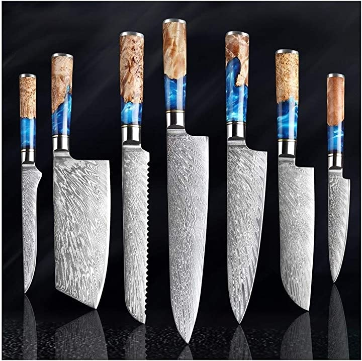 Set coltelli professionali giapponese in acciaio damasco - 7 pezzi - coltelli da sushi carne pesce pollo sushi 254683