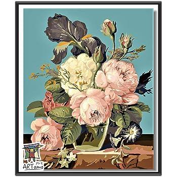 ARTomo【アトモ】パズル油絵『フレーム付き』数字 油絵 DIY 塗り絵 本格的な油絵が誰でも簡単に楽しく描ける 40x50cm (静物 - お花)
