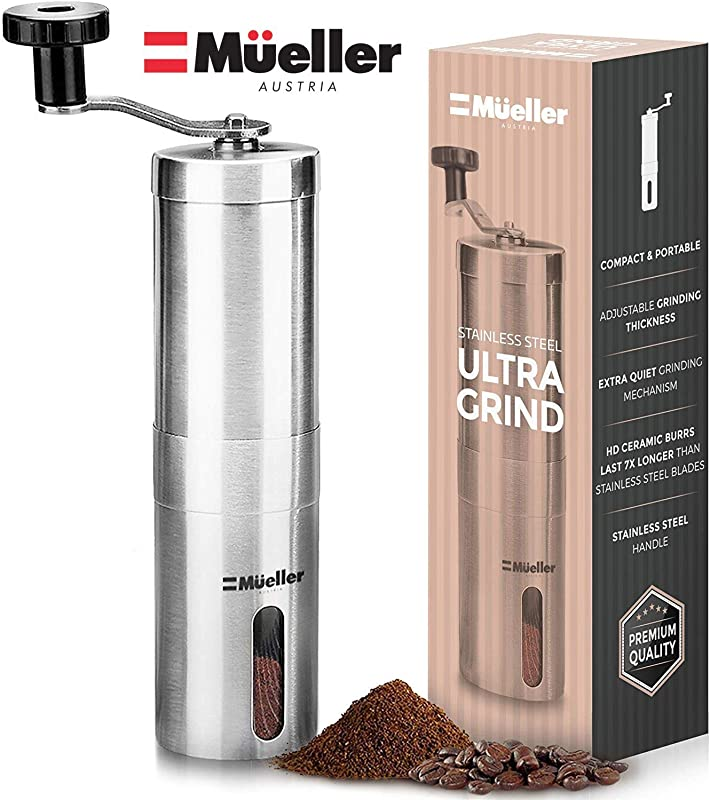 Mueller Austria Manual Coffee Grinder Whole Bean Conical Burr Mill For French Press Turkish Strongest And Heaviest Duty Packaging May Vary Hand Size Brushed Stainless Steel