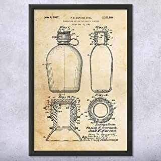 Framed Water Canteen Print, Camping Gift, Water Bottle Art, Hiking Gift, Canteen Art Print, Boy Scout Gift Vintage Paper (8