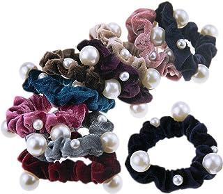 Lurrose 10ピースヘアネクタイパールフランネルヘアドレッシングヘアロープポニーテールホルダー女性のためのヘアアクセサリー女の子キッズ(ミックススタイル)