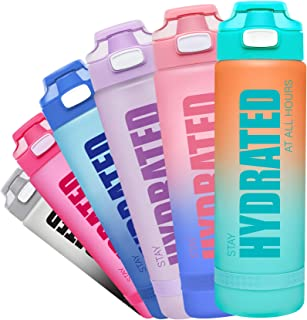 Fidus 32oz Leakproof Tritran BPA Free Water Bottle with Motivational Time Marker to Ensure You Drink Enough Water Daily for Fitness, Gym and Outdoor Sports HotFun 32oz Water Bottle with Straw, BPA Free Water Bottle Hydration with Motivational Time Marker Reminder Leak-Proof Drinking Water Bottle for Camping Sports Workouts and Outdoor Activity Elvira 32oz Motivational Fitness Sports Water Bottle with Time Marker & Removable Strainer,Fast Flow,Flip Top Leakproof Durable BPA Free Non-Toxic Amazon Basics Stainless Steel Insulated Water Bottle with Spout Lid – 30-Ounce, Teal Fidus 32oz Motivational Water Bottle with Time Marker & Chug Lid, Leakproof BPA Free Tritan Wide Mouth, Ensure You Drink Enough Water Daily for Fitness and Outdoor Activity