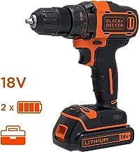 Black & Decker BDCDD186KB drill Sin llave Negro, Naranja - Taladro eléctrico (1 cm, 2,5 cm, 40 Nm, 360 RPM, 1400 RPM, Batería)