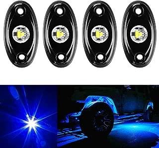 Amak 4 Pods LED Rock Light Kit for Jeep ATV SUV Offroad Car Truck Boat Underbody Glow Trail Rig Lamp Underglow LED Neon Lights Waterproof-Blue