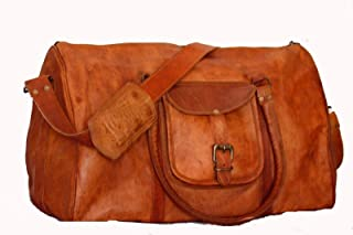 🔥 Sale! Handmade 100% Pure Leather Luggage Duffel Travel Gym Overnight Weekend Leather Bag Classic Eco-Friendly Bag | Vintage T Duffel Hand Luggage 21"