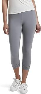HUE Women's Fashion Cotton Capri Leggings, Assorted, Granite - Embroidered, Small